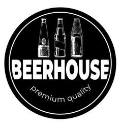 beerhouse dark round vintage label vector image
