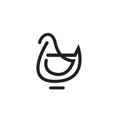 Bird or chicken or rooster icon vector