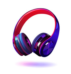 black and purple headphones isolated on white vector image