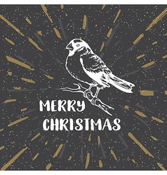Black vintage Christmas background with bullfinch vector image