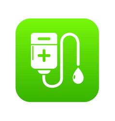 blood bag icon green vector image