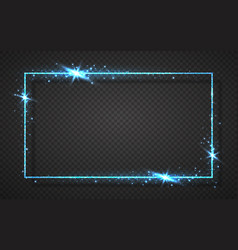 blue shiny glitter glowing vintage frame with vector image