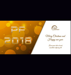 bokeh 2018 happy new year card in gold color vector image