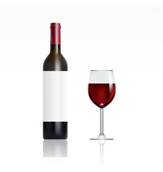 bottle with red wine and glass vector image