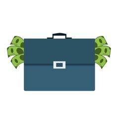 Briefcase full of money icon vector