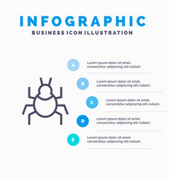 Bug nature virus indian line icon with 5 steps vector