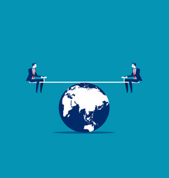 Businessman balanced on seesaw over globe concept vector