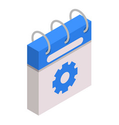 calendar gear day icon isometric style vector image