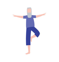 cartoon old man standing in yoga pose training his vector image