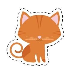 Cat feline curious small cut line vector