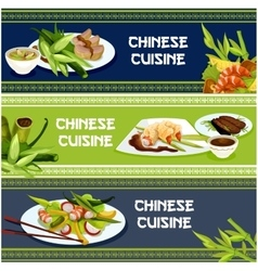 Chinese cuisine seafood and meat dishes banner set vector