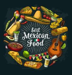 Circle shape set mexican food engraving vector