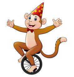 Circus monkey cartoon riding a monocycle with smil vector