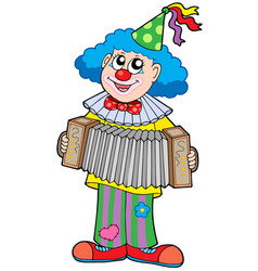 clown with accordion vector image