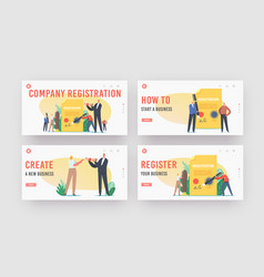 Company registration landing page template set vector