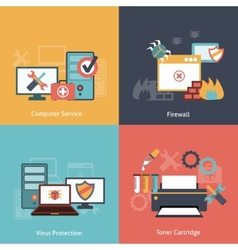 Computer repair flat icons composition vector