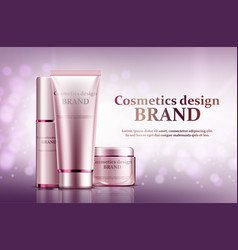 cosmetic set ads light pink package design vector image