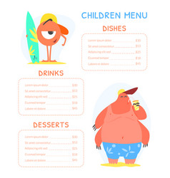 Cute colorful children meal menu with funny vector