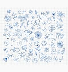 cute doodle flowers birds butterflies hand vector image