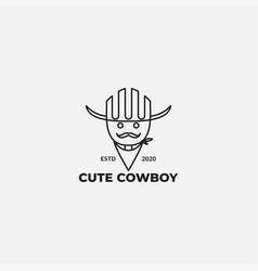 Cute line cowboy with mustache logo design vector