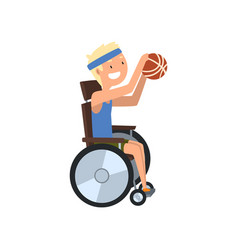 disabled man playing basketball rehabilitation of vector image