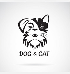 dog and cat face design on a white background vector image