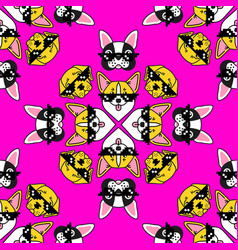 dog in pixel sunglasses seamless pattern on pink vector image