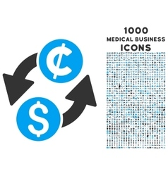Dollar cent exchange icon with 1000 medical vector