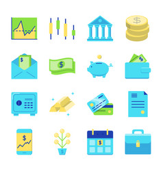 finance and money icon set in flat style vector image