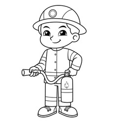 Fire fighter boy ready to spray with fire vector