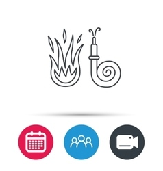 Fire hose reel icon Firefighters station sign vector image
