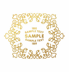 golden luxurious logo frame golden on white vector image