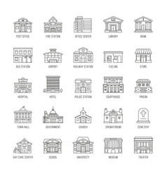 Government buildings thin line icons set vector