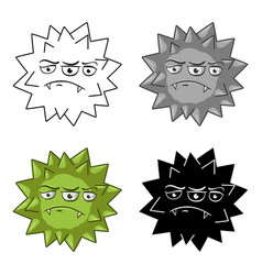 Green virus icon in cartoon style isolated on vector