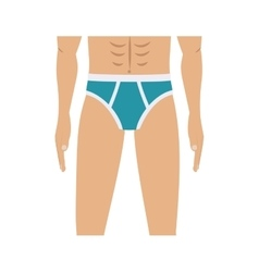 Half body men with blue swimming trunks vector