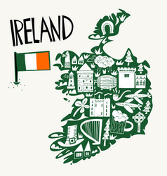 hand drawn stylized map ireland travel of vector image