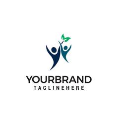 Healthy people logo human leaf logo template vector