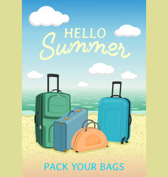 hello summer poster to advertise travel packages vector image