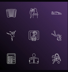 Hobby icons line style set with basketball math vector