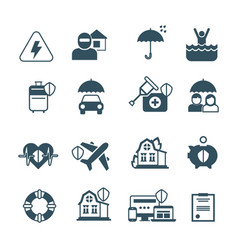 Insurance icons protection and safety vector