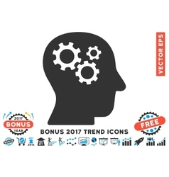 Intellect Gears Flat Icon With 2017 Bonus Trend vector image