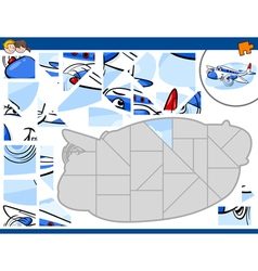Jigsaw puzzle with plane vector