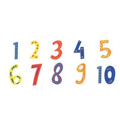 Kids colored cartoon number set set 1-10 digit vector
