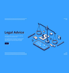 Landing page legal advice service vector