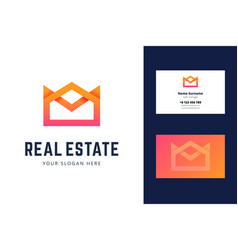 logo and business card template for real estate vector image