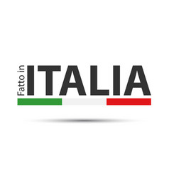made in italy colored symbol with italian tricolor vector image