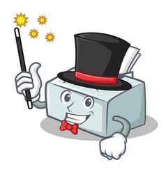 Magician printer mascot cartoon style vector