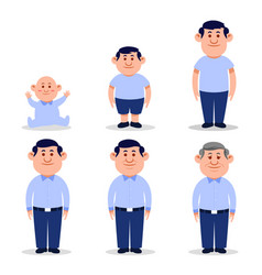 Man flat character in different ages vector