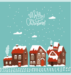 merry christmas cozy greeting card snow covered vector image