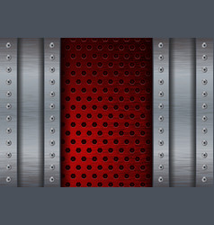 Metal brushed background with red perforated plate vector